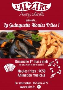 affiche pour la guinguette moules frites à jarnages