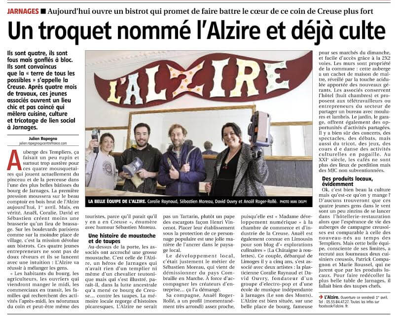 article du journal La Montagne - Julien Rapegno