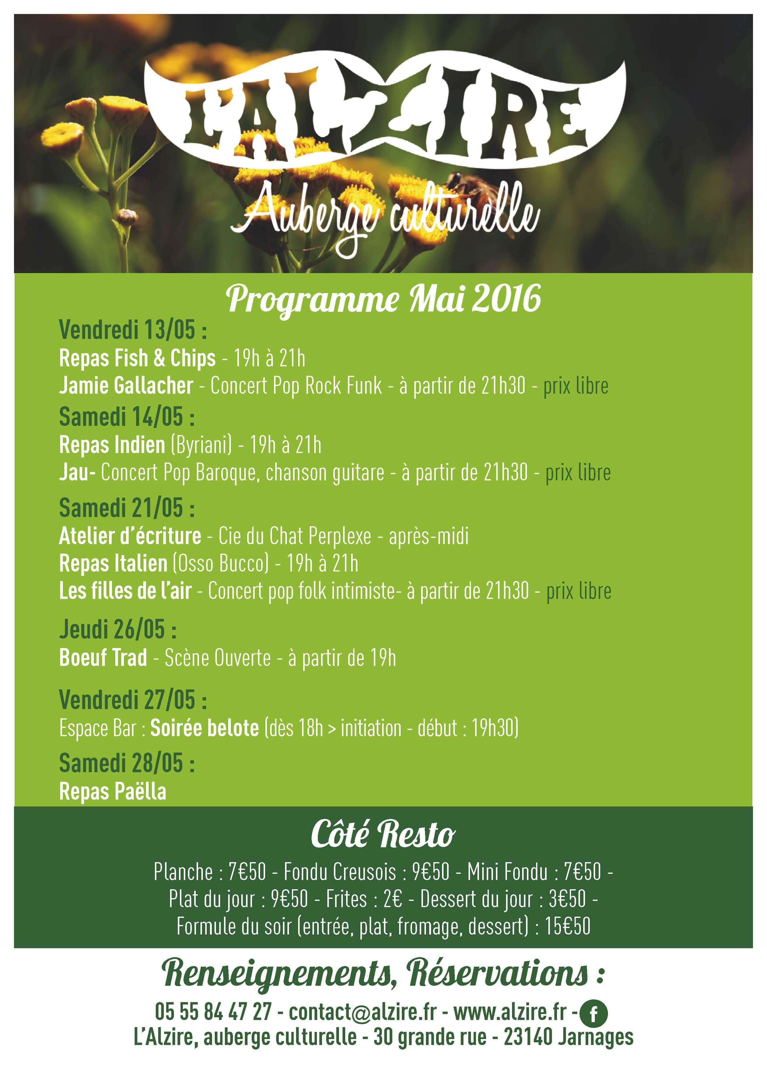 programme mai 2016 à l'Alzire